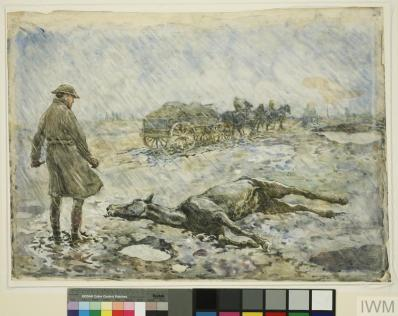 Put Out of Its Misery : a veterinary officer destroying by means of a humane cattle-killer a horse too severely injured for treatment (Art.IWM ART 2609) image: in a fierce rainstorm on muddy terrain, a soldier stands over a recumbent horse. In the background a horsedrawn cart moves away to the right Copyright: © IWM. Original Source: http://www.iwm.org.uk/collections/item/object/20364